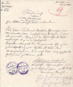 Rechnung vom 13.03.1924 über 1,5 Billionen RM