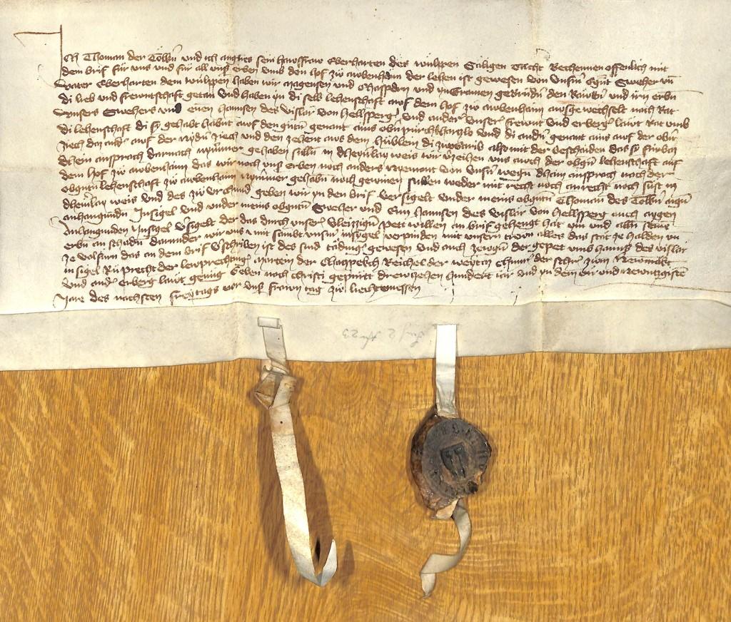 Urkunde vom 06.02.1394 (Pelkoven)